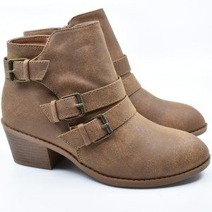 Tan Faux Leather Low Heel Ankle Boot Booties